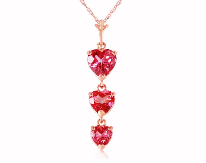 3.03 Ct Natural Pink Topaz Pendant Heart Cut on a 14Kt Solid Rose Gold Double Link Rope Chain Necklace Gemstone Estate Jewelry