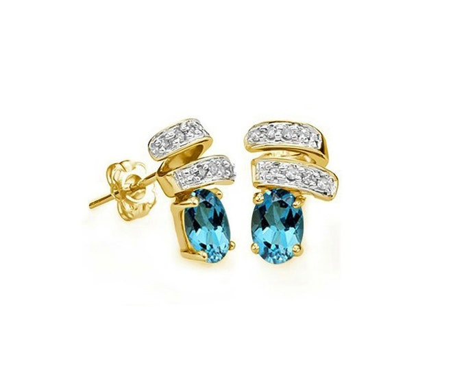 1.15 Ct London Blue Topaz & Diamond 14Kt Solid Yellow Gold Earrings Estate Jewelry Gemstone Earring
