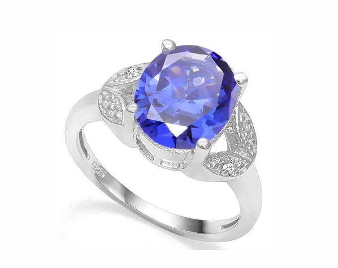 4 Ct Lab Tanzanite and Diamond Silver Ring 925 Royal Blue Statement Cocktail Ring Estate Jewelry Size 7 US