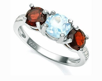 1 Ct Baby Swiss Blue Topaz and 1.2 Ct Garnet Sterling Silver Ring, 925 Gemstone Estate Jewelry TG-BSBTG01-925