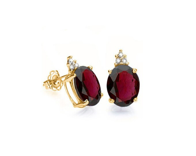 2.20 Ct Red Garnet and Diamond 10K Solid Yellow Gold Stud Earrings Oval Cut – Gemstone Estate Jewelry