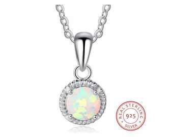 Gorgeous Synthetic Opal Pendant 925 Sterling Silver Necklace on a 18 Inch Anchor Chain Estate Jewelry Gift Women Birthday Christmas