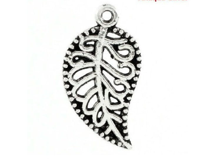 2 Leaf Charms Filigree Antique Silver 2 Sided Antique Silver Bracelet Charm Necklace Pendant Jewelry Supplies Charms Craft Projects Earrings