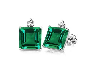 Stunning 1.81 Carat Russian Emerald and Diamond 10K White Gold Stud Earrings – Emeralds Gemstone Earring Estate Jewelry
