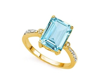 4.19 Ct Sky Blue Topaz and Diamond 14Kt Solid Yellow Gold Ring Emerald Cut Gemstone Statement Cocktail Ring Estate Jewelry Size 7