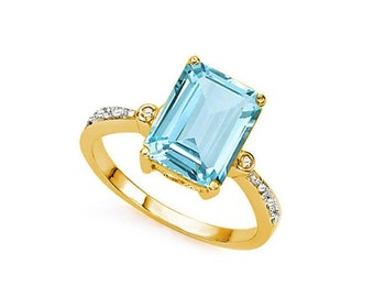4.19 Ct Sky Blue Topaz and Diamond 14Kt Solid Yellow Gold Ring Emerald Cut Gemstone Statement Cocktail Ring Estate Jewelry Size 6 1/2