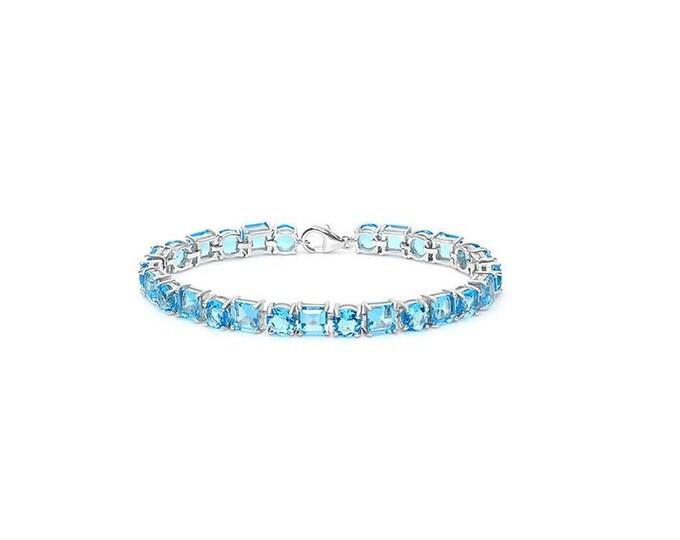 48.39 Ct Created Swiss Blue Topaz Sterling Silver Tennis Bracelet 925 Gemstone Statement Jewelry