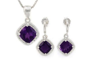2 3/4 Ct Amethyst & Diamond Pendant Necklace and Earring Sterling Silver Set 925 Estate Jewelry Earrings