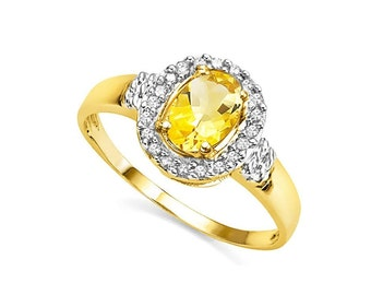 3/4 Ct Citrine and Diamond 10Kt Solid Yellow Gold Ring Gemstone Statement Cocktail Ring Estate Jewelry Size 7