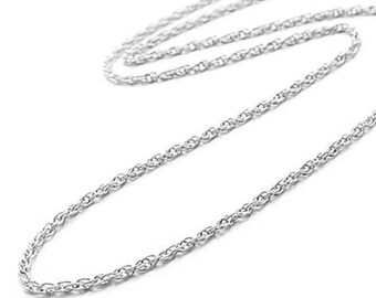 9 Inch 14KT 0.8MM White Gold Rope Chain Anklet Bracelet Gift Women Birthday