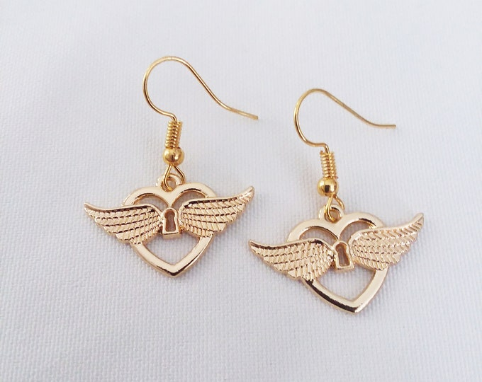 Golden Winged Heart Charm Earrings Gold Plated Wing Heart Charms Earring French Hook Ear Wires Earrings