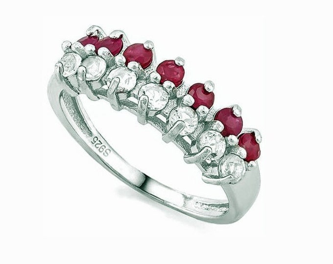 Elegant 2/3 Ct Genuine Ruby and 3/5 Ct White Topaz Sterling Silver Ring, 925 Gemstone Estate Jewelry, TG-RubWTpz01-925