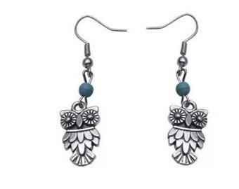 Turquoise Owl Dangle Earrings Boho Jewellery Fashion Jewelry Drop Earring Gemstone Jewelry, December Birthstone French Hooks