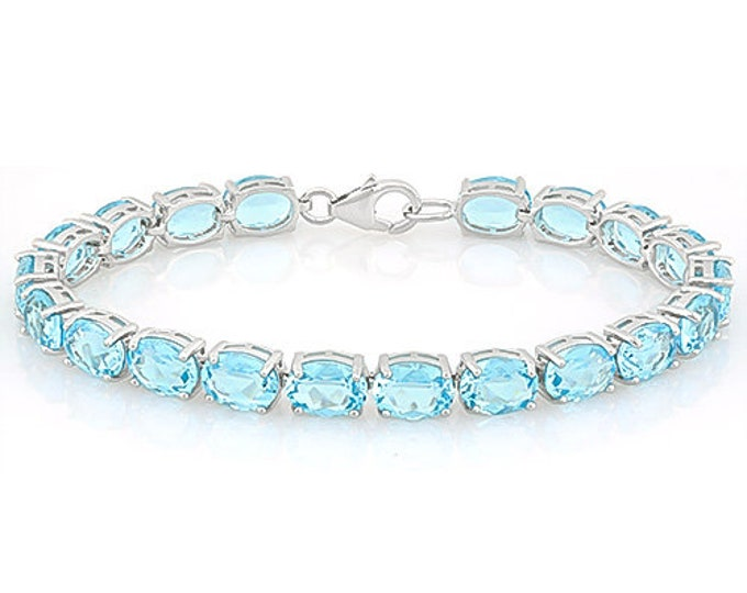20.32 Ct Created Sky Blue Topaz Bracelet Sterling Silver Tennis Bracelet 925 Gemstone Statement Jewelry Gift Women Birthday