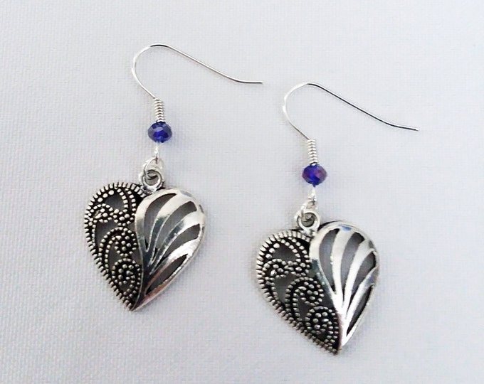 Tribal Heart Earrings with Purple Crystal Heart Charm Earring Drop Dangle Jewelry French Hook Style Ear Wires Gothic Celtic