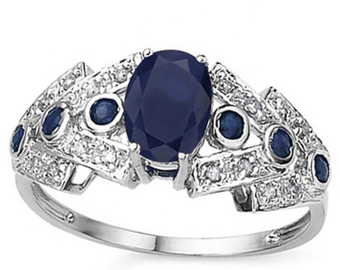 4/5 Ct Blue Sapphire and Diamond 10 Kt Solid White Gold Ring Estate Jewelry Statement Cocktail Engagement Band Ring Size 7 1/2