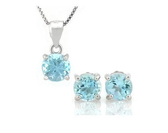 2 Ct Baby Swiss Blue Topaz Pendant Necklace and Earring Sterling Silver Set 925 Estate Jewelry Earrings
