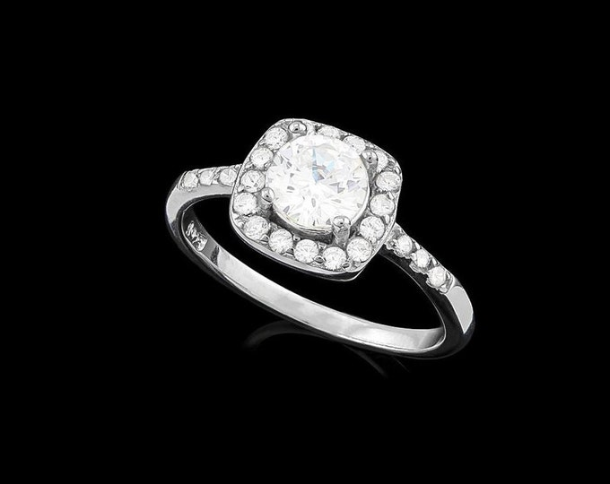 1 1/2 Ct Flawless Created Diamond Halo Ring Sterling Silver 925 Gemstone Engagement Statement Ring Estate Jewelry Size 7 Cubic Zirconia CZ