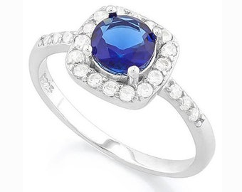 1 1/3 Ct Created Blue Sapphire and 1/4 Ct Created Diamond Sterling Silver Ring, 925 Gemstone Estate Jewelry TG-CBluSap05-925
