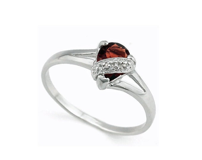 3/4 Ct Persian Red Garnet and Diamond Solid Sterling Silver Ring 925 Gemstone Engagement Statement Cocktail Ring Estate Jewelry Size 7