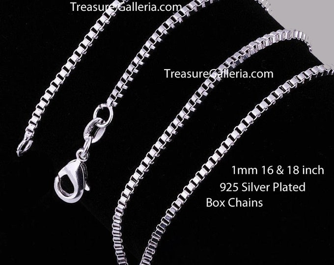 925 Sterling Silver Plated Box Chain Necklace with Lobster Clasp 1mm 16 and 18 inch Chains for Pendants Jewelry Making Craft Projects