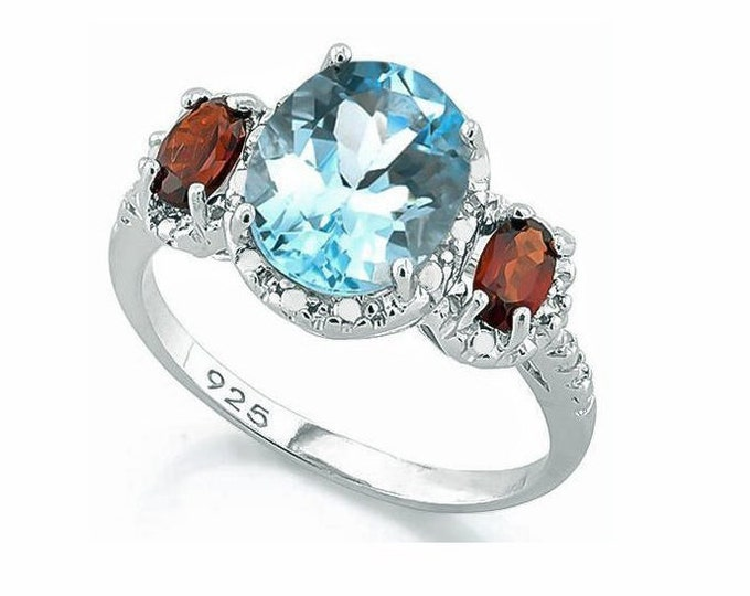 3.2 Ct Baby Swiss Blue Topaz and .7 Ct Garnet & Genuine Diamonds Sterling Silver Ring, 925 Gemstone Estate Jewelry, TG-TopGar01-925