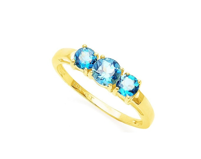 1/2 Ct London Blue & .68 Sky Blue Topaz 10Kt Solid Yellow Gold Ring Gemstone Cocktail Statement Ring Estate Jewelry Size 7