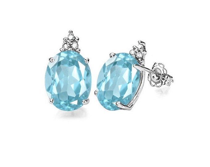 1.81 Ct Sky Blue Topaz and Diamond Earrings 10K Solid White Gold Gemstone Estate Jewelry Gift Women Birthday Baby Swiss Blue Topaz