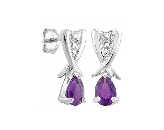3/4 Ct Pear Cut Purple Amethyst Sterling Silver Stud Earrings – 925 Gemstone Estate Jewelry Earring