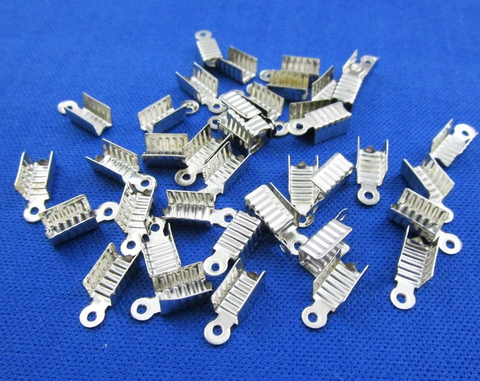 40 Cord End Caps Crimp Silver Tone For Jewelry Necklace and Bracelet Bracelets Beads Necklaces Jewelry Bead Charms Craft Supplies Findings