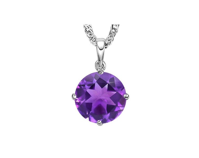 0.45 Ct Purple Amethyst 14K Solid White Gold  Necklace Pendant Jewelry (Necklace Chain not Included)
