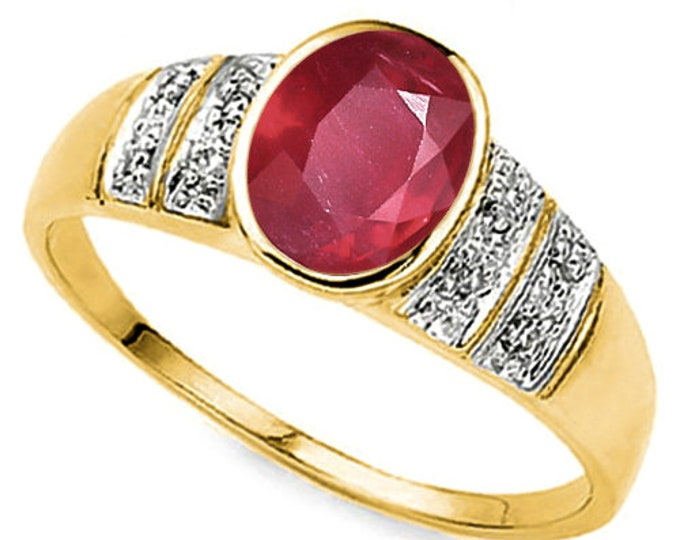 1 Ct African Ruby and Diamond 10K Solid Yellow Gold Ring - Cocktail Ring – Statement Ring - Estate Jewelry Size 7