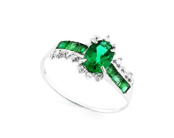 4/5 Ct Russian Emerald, Genuine Emeralds and Diamond 10Kt Solid White Gold Ring Gemstone Statement Cocktail Ring Estate Jewelry Size 7