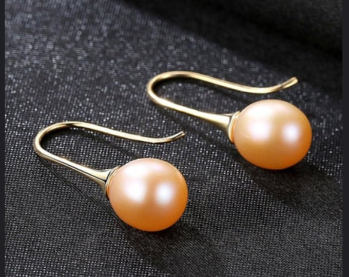 Pink Freshwater Pearl Earrings Sterling Silver - 925 Gemstone Estate Jewelry Drop - Dangle Earring Wedding – Bride - Bridesmaids