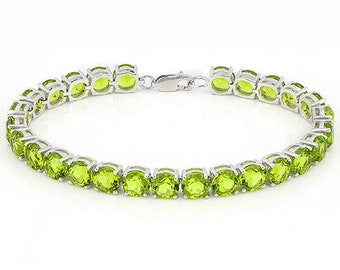 22.95 Ct Created Peridot Sterling Silver Bracelet 925 Lime Green Gemstone Estate Statement Jewelry Gift Women Birthday Christmas