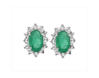 Genuine .93 CT Emerald and Diamond Earrings 925 Sterling Silver – Natural Emeralds & Diamonds Oval Post Earring TG-EmDi07-925