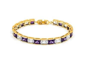 8 Ct Created Amethyst & 8 Ct Created Diamond 18 Kt Gold Plated German Silver Bracelet Gemstone Jewelry Tennis Bracelet Cubic Zirconia CZ