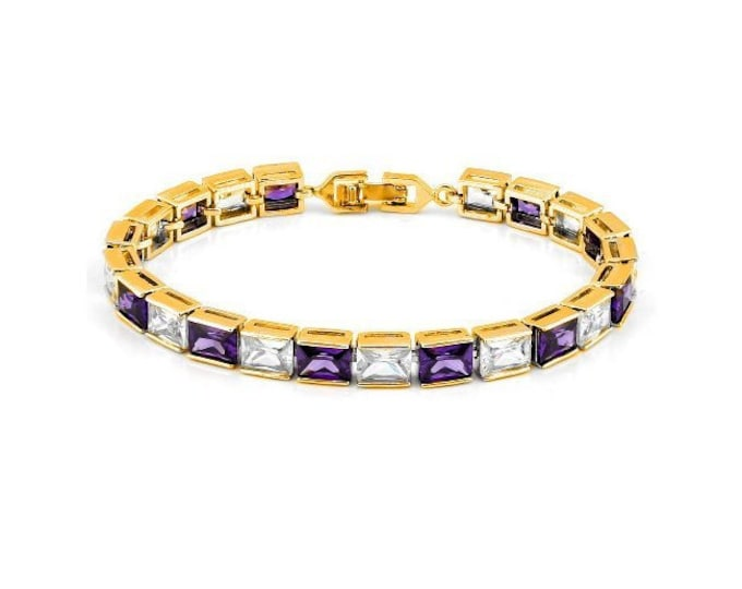 8 Ct Created Amethyst & 8 Ct Cubic Zirconia CZ 18 Kt Gold Plated German Silver Bracelet Gemstone Estate Statement Jewelry Tennis Bracelet