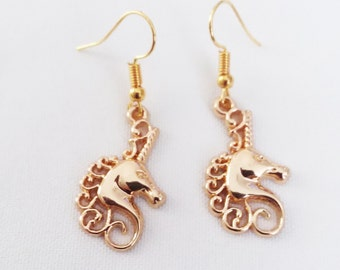 Gold Unicorn Charm Earrings Gold Plated Charm Earring French Hook Ear Wires