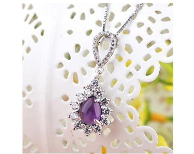 1.5 Ct Amethyst & 1.5 Ct Cubic Zirconia (CZ) Sterling Silver Pendant on an 18 inch Sterling Silver Box Chain 925 Necklace – Estate Jewelry