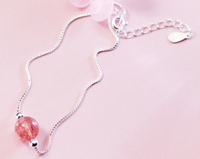 Strawberry Quartz Bead 925 Bracelet Gemstone Estate Statement Jewelry Gift Women Birthday Rose Quartz