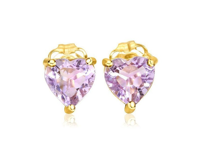 1.18 Ct Heart Cut Lavender Amethyst 14kt Solid Yellow Gold Stud Earrings - Gemstone Estate Jewelry
