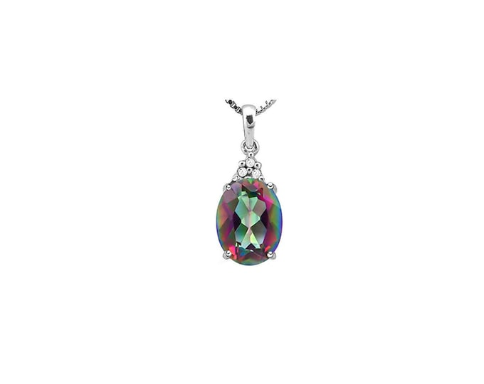 0.75 Carat Mystic Topaz Gemstone 10Kt Solid White Gold Necklace Pendant Jewelry (Necklace Chain not Included)