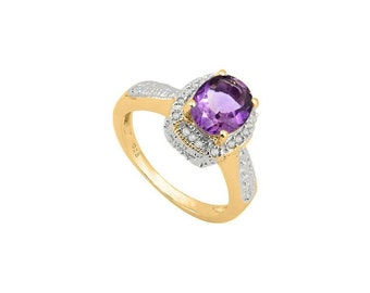 1.62 Ct Purple Amethyst & Diamond Sterling Silver Ring - 925 Engagement Ring – Cocktail Ring – Statement Ring - Estate Jewelry Size 7