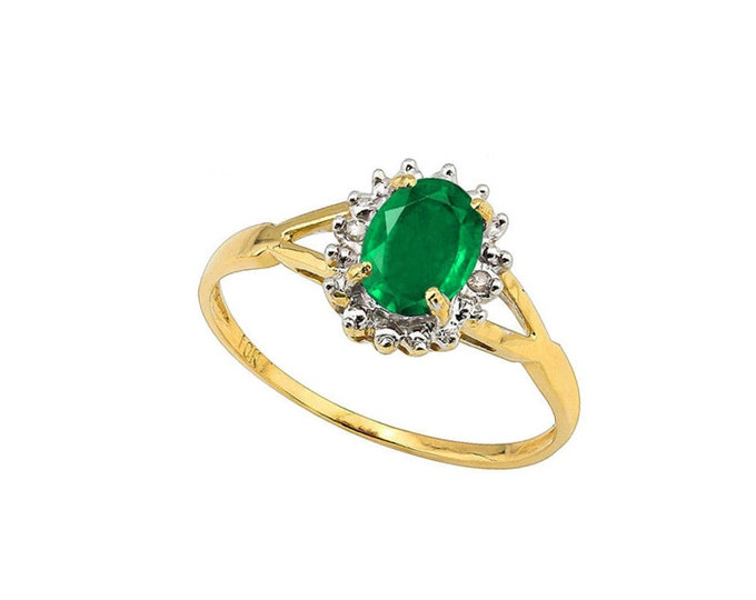 3/4 Ct Emerald and Diamond 10Kt Solid Gold Ring Gemstone Estate Jewelry Statement Ring Cocktail Ring Size 7 US