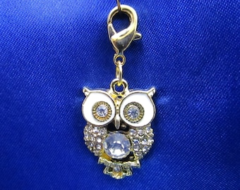Golden Owl Charm Gold Plated & Clear Rhinestones Owl Bracelet Charms Necklace Pendant Jewelry Supplies Craft Projects Earrings
