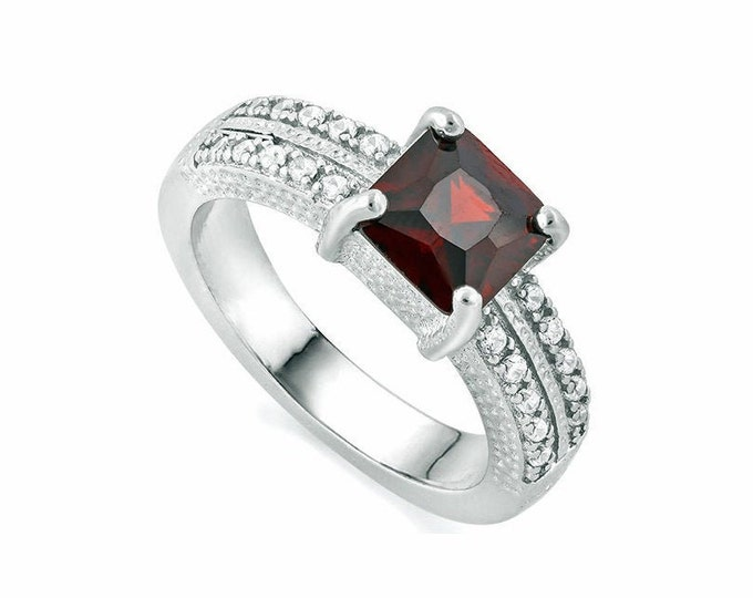 1.4 Ct Persian Red Garnet and Diamond Solid Sterling Silver Ring 925 Gemstone Engagement Statement Cocktail Ring Estate Jewelry Size 7