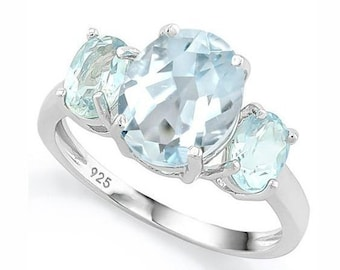 1 1/2 Ct Aquamarine & 2 1/3 Ct Sky Blue Topaz Sterling Silver Ring, 925 Gemstone Estate Jewelry, TG-Aqua01-925