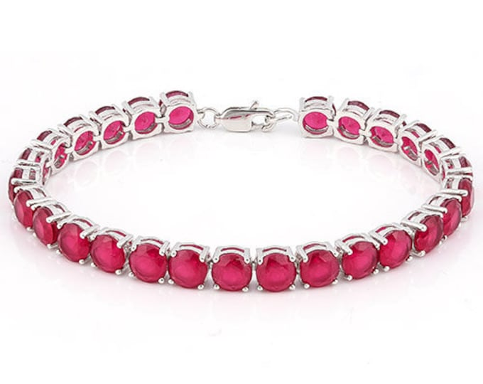 31.32 Ct Ruby Bracelet Sterling Silver Tennis Bracelet 925 Rubies Gemstone Estate Statement Jewelry Gift Women Birthday