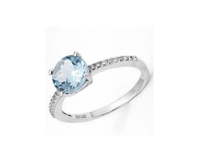 1.7 Ct Sky Blue Topaz & Created White Sapphire Platinum Over Sterling Silver Ring 925 Gemstone Cocktail Statement Ring Estate Jewelry Size 7